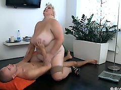 Big-busted fat girl rides skinny guy