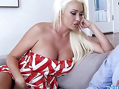 Busty babe cockriding after blowjob