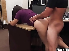 Smart college brunette gets bent over and slammed from behind