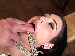 Brunette slave spanked, punished and brought to orgasm