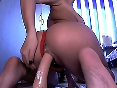 Live69Girls.Com Beautiful latina with big ass riding slowly a long dildo