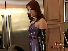 Dominatrix just about a latex outfit fucked really hard just about the kitchen