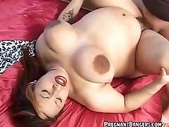 Pregnant Bitch Encircling Big Tits