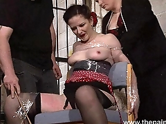Submissive Caroline Pierces spanking and double domination of plastic tied bonda