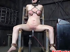 Breastbondage sub flogged and whipped