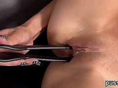 European kitten enjoys speculum and shoves huge vibrator in pussy