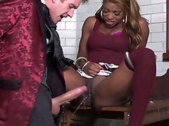 Hot black slut Jasmine Webb squirts all over his big wan cock