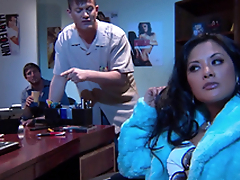 Gorgeous Alektra Blue and Kaylani Lei love amazing FFM lovemaking indoors