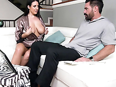 Older man touches XXX-looking tits of Australian MILF Angela White