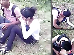 Desi College Couple Caught Open-air