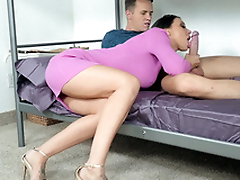 Guy permits friend's mom Rachel Starr to suck his XXX rod on bunk moulding