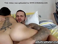 hot tattoo babe fucked in ass on cam